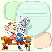 Little cartoon mouse female kissing shy rabbit boy on the wooden bench on abstract text place background. Vector illustration. poster