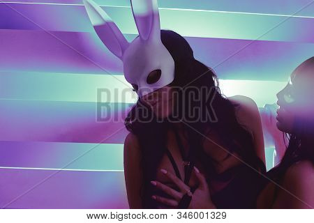 Sexy Brunette Masked Rabbits Kiss. Lgbtq Concept, Girls In Sexy Outfits On The Background Of Bright