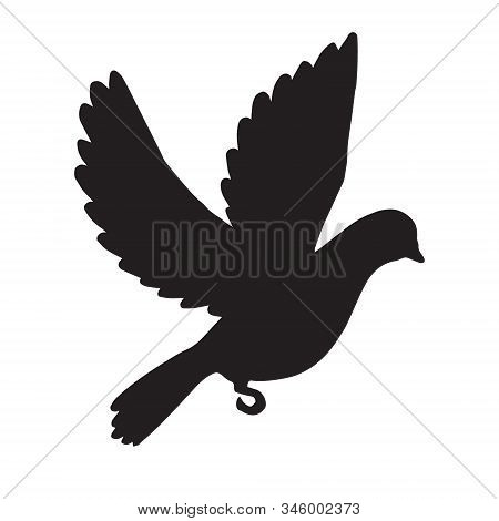 Vector Black Flying Dove Silhouette Isolated On White Background