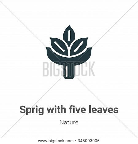 Sprig With Five Leaves Vector Icon On White Background. Flat Vector Sprig With Five Leaves Icon Symb