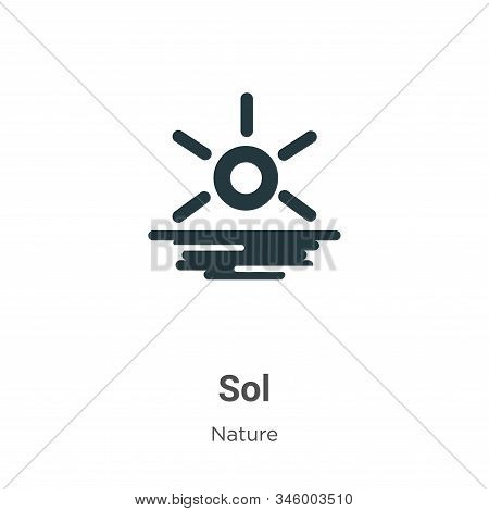 Sol Vector Icon On White Background. Flat Vector Sol Icon Symbol Sign From Modern Nature Collection