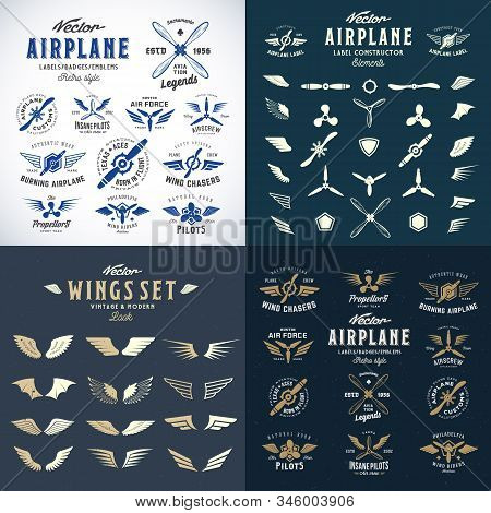 Airplane Retro Labels Construction Bundle. Plane Propellers Logos Set With Wings Symbols, Shields Ic