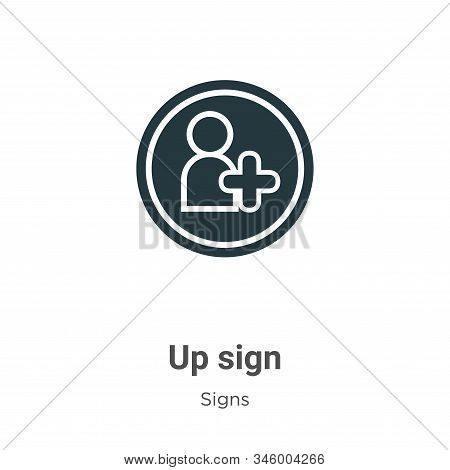 Up sign icon isolated on white background from signs collection. Up sign icon trendy and modern Up s