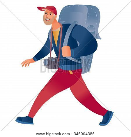 Male Tourist With A Big Backpack Behind Him And A Camera Hanging On His Neck With Wide Strides, Isol