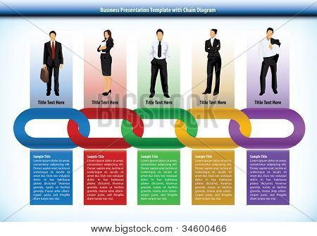 Business presentation template with interlinked colorful chain with each link representing a different persons or human input with corresponding text boxes below