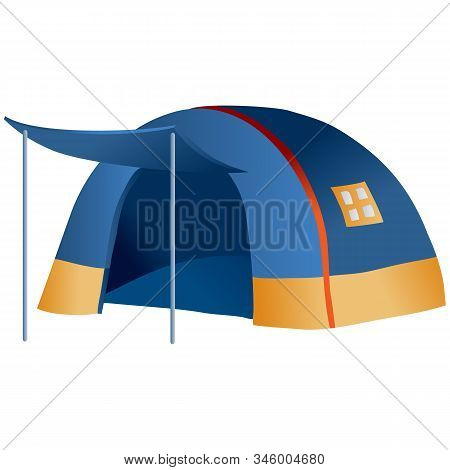 Camping Tent Blue And Round, Isolated Object On A White Background,