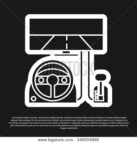 Black Racing Simulator Cockpit Icon Isolated On Black Background. Gaming Accessory. Gadget For Drivi