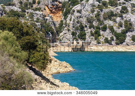 Water Dam At Gorg Blau, An Artificial Lake Located On Mallorca, Spain