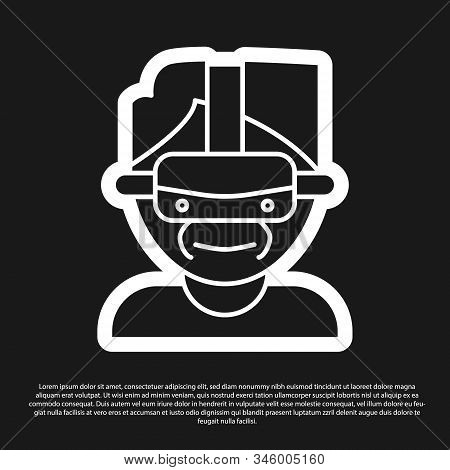 Black Virtual Reality Glasses Icon Isolated On Black Background. Stereoscopic 3d Vr Mask. Vector Ill