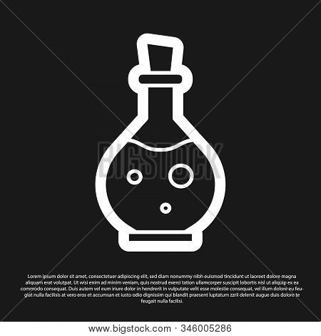 Black Glass Bottle With Magic Elixir Icon Isolated On Black Background. Computer Game Asset. Vector