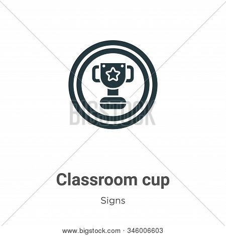 Classroom Cup Vector Icon On White Background. Flat Vector Classroom Cup Icon Symbol Sign From Moder