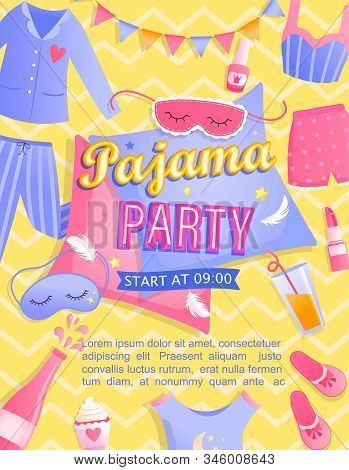 Bright Pajama Partys Invitation Flyer. Night Time For Kids And Parents, Nightwear, Pillows, Sweets,