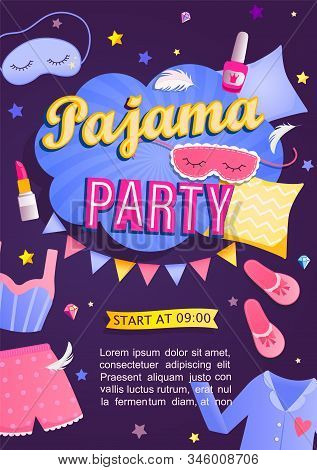 Pajama Partys Invitation Card. Night Time For Kids And Parents, Nightwear, Pillows, Fun. Poster Or F