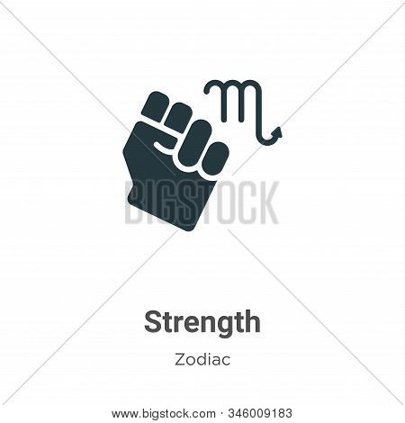 Strength Vector Icon On White Background. Flat Vector Strength Icon Symbol Sign From Modern Zodiac C