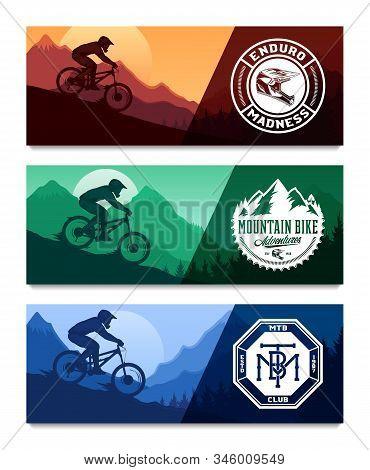 Vector Mountain Biking Horizontal Banner Set