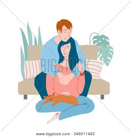 Cute Romantic Couple At Home, Man Sitting On Sofa, Hugging Woman Who Is Cuddling A Sleeping Cat, Fla