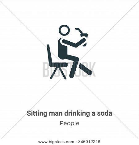 Sitting Man Drinking A Soda Vector Icon On White Background. Flat Vector Sitting Man Drinking A Soda