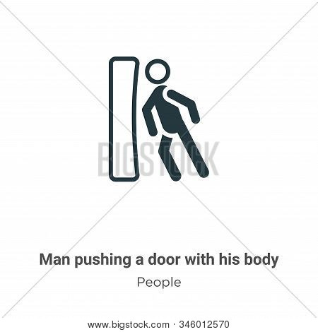 Man pushing a door with his body icon isolated on white background from people collection. Man pushi
