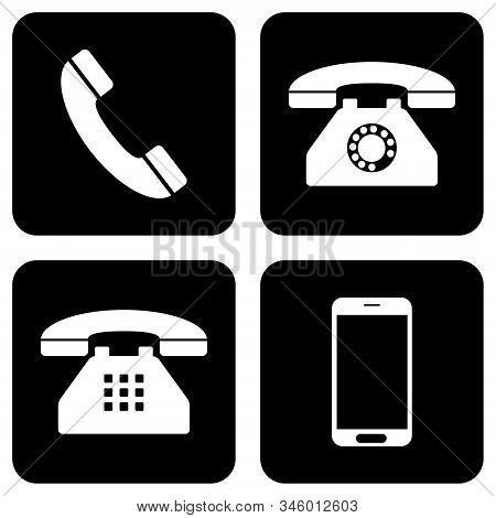 Phone Icon Collection. Mobile Phone Icon, Home Phone Icon And Telephone Icon On Black Background