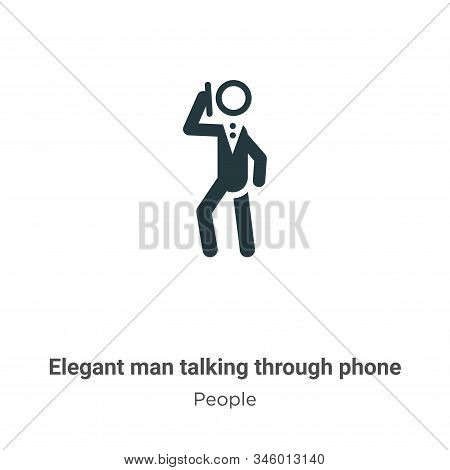 Elegant man talking through phone icon isolated on white background from people collection. Elegant