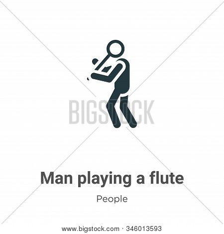 Man Playing A Flute Vector Icon On White Background. Flat Vector Man Playing A Flute Icon Symbol Sig