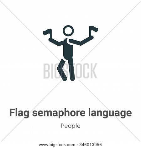 Flag semaphore language icon isolated on white background from people collection. Flag semaphore lan