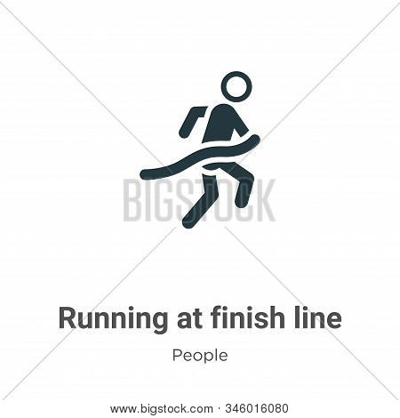 Running at finish line icon isolated on white background from people collection. Running at finish l