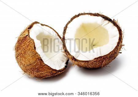 Fresh Raw Coconut Cut In Half Isolated On White Background