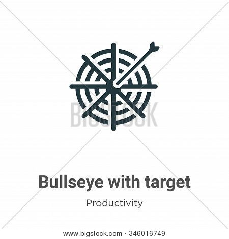 Bullseye with target symbol icon isolated on white background from productivity collection. Bullseye