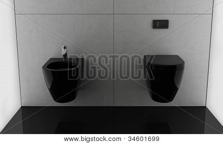 Modern minimal contemporary black bathroom