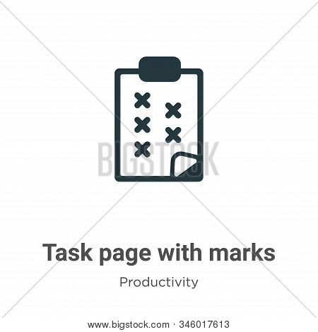 Task page with marks icon isolated on white background from productivity collection. Task page with