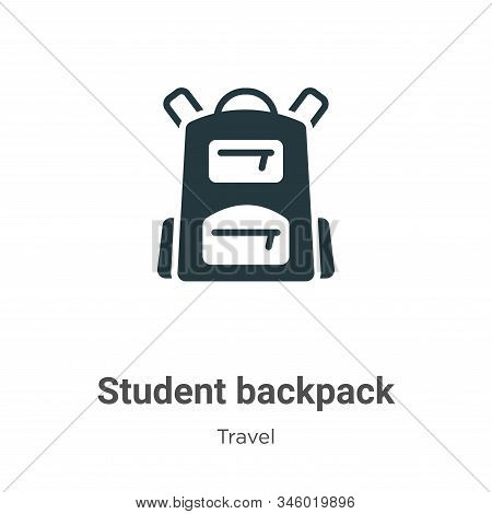 Student backpack icon isolated on white background from travel collection. Student backpack icon tre