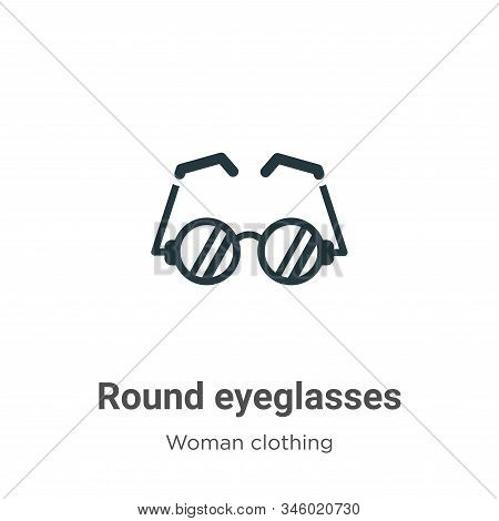 Round eyeglasses icon isolated on white background from woman clothing collection. Round eyeglasses