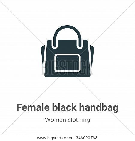 Female black handbag icon isolated on white background from woman clothing collection. Female black