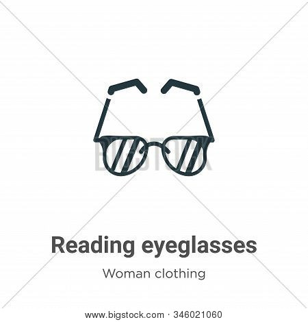 Reading eyeglasses icon isolated on white background from woman clothing collection. Reading eyeglas