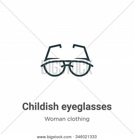 Childish Eyeglasses Vector Icon On White Background. Flat Vector Childish Eyeglasses Icon Symbol Sig