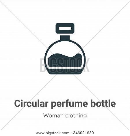 Circular perfume bottle icon isolated on white background from woman clothing collection. Circular p