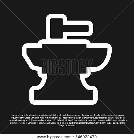 Black Anvil For Blacksmithing And Hammer Icon Isolated On Black Background. Metal Forging. Forge Too