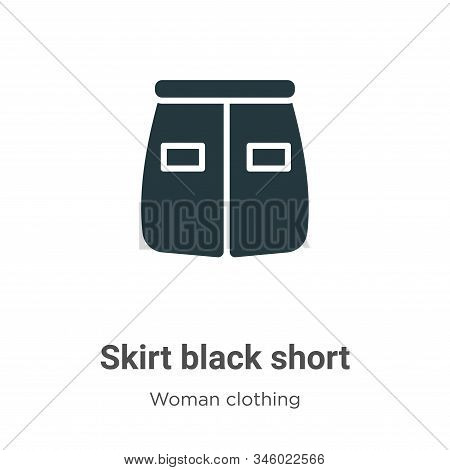 Skirt black short icon isolated on white background from woman clothing collection. Skirt black shor
