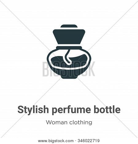 Stylish perfume bottle icon isolated on white background from woman clothing collection. Stylish per