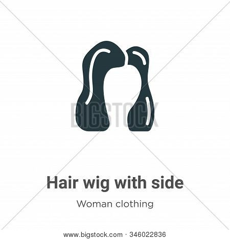 Hair wig with side icon isolated on white background from woman clothing collection. Hair wig with s