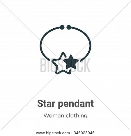 Star pendant icon isolated on white background from woman clothing collection. Star pendant icon tre