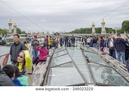 Paris, France - 6th June, 2019: Boat Tour Trip Of The Seine River In Paris. View From The Boat. Tour