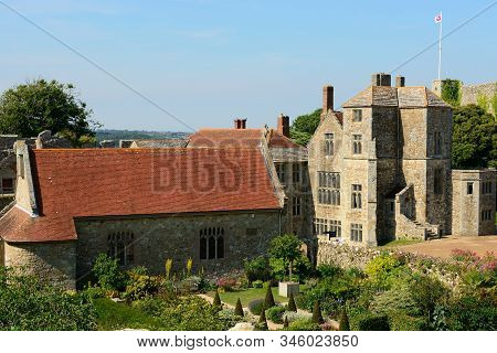 Carisbrooke.isle Of Wight.united Kingdom.june 17th 2017.view Of Carisbrooke Castle On A Sunny Day.