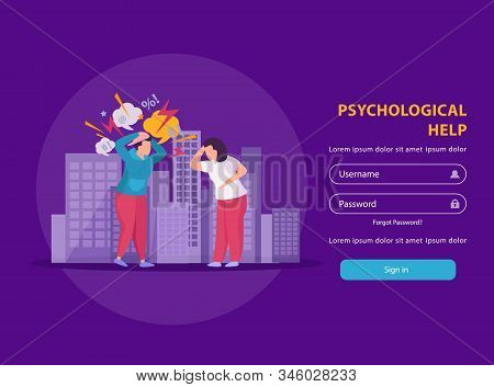 Psychological Help Flat Landing Page For People Suffering From Stress Psychosis And Other Mental Dis