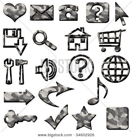 Grey Camouflage Masculine Website Icons Buttons Navigation