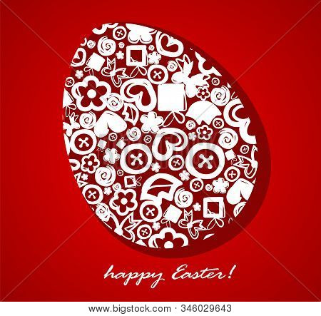 Decorative Easter Egg On A Red Background. Vector Illustration.