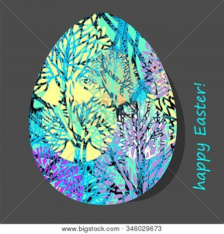 Easter Egg With Natural Pattern. Vector Illustration.