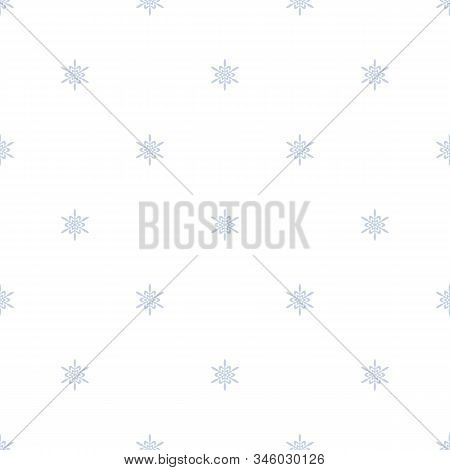 Subtle Geometric Snowflakes Seamless Pattern. Minimalist Vector Christmas Texture With Small Blue Sn