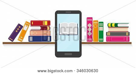 Flat Vector Illustration Of Online Reading, Learning Or Education Concept. Books On The Shelf And Sm